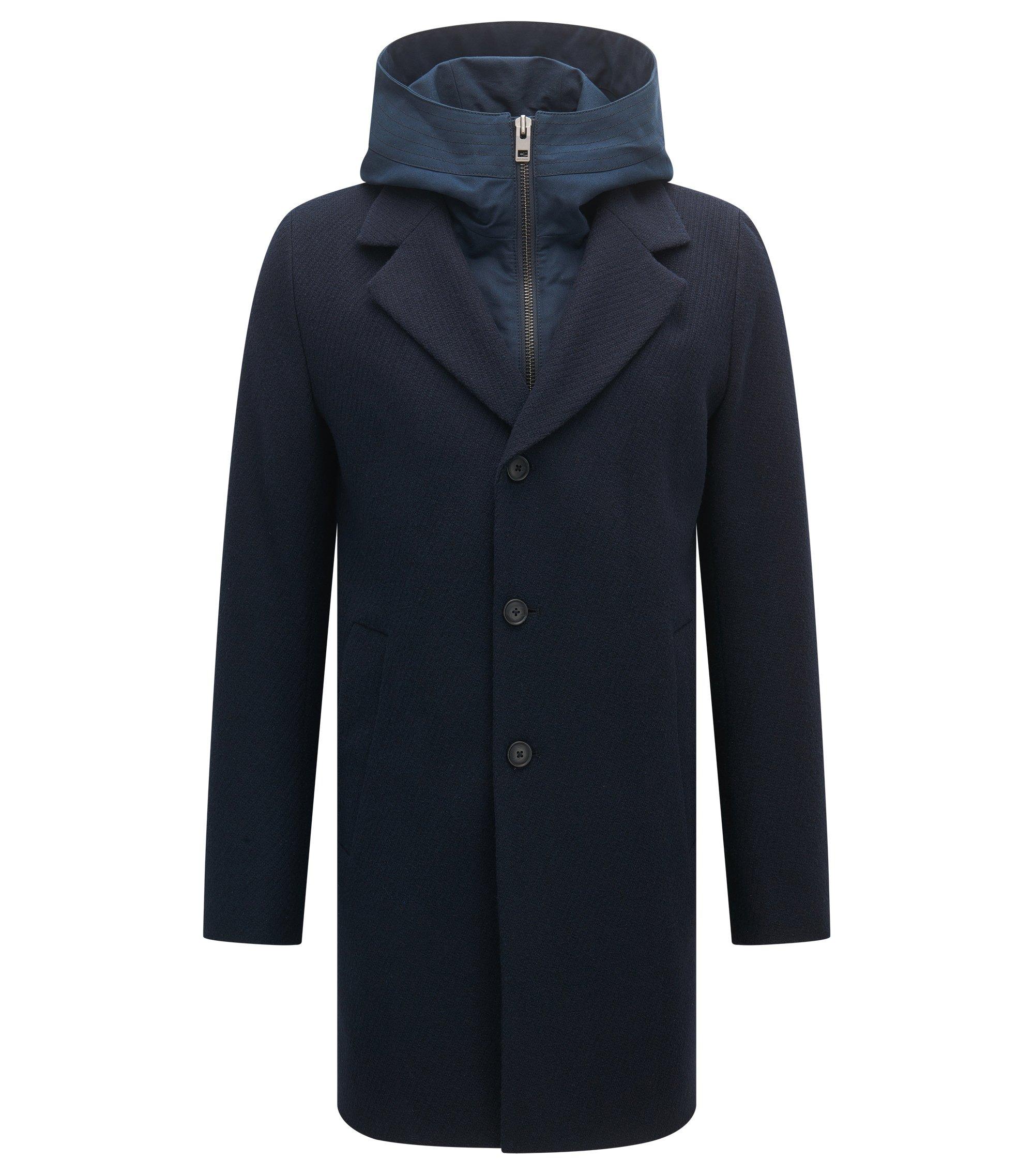 Slim-fit mantel met inzetstuk met capuchon, Donkerblauw
