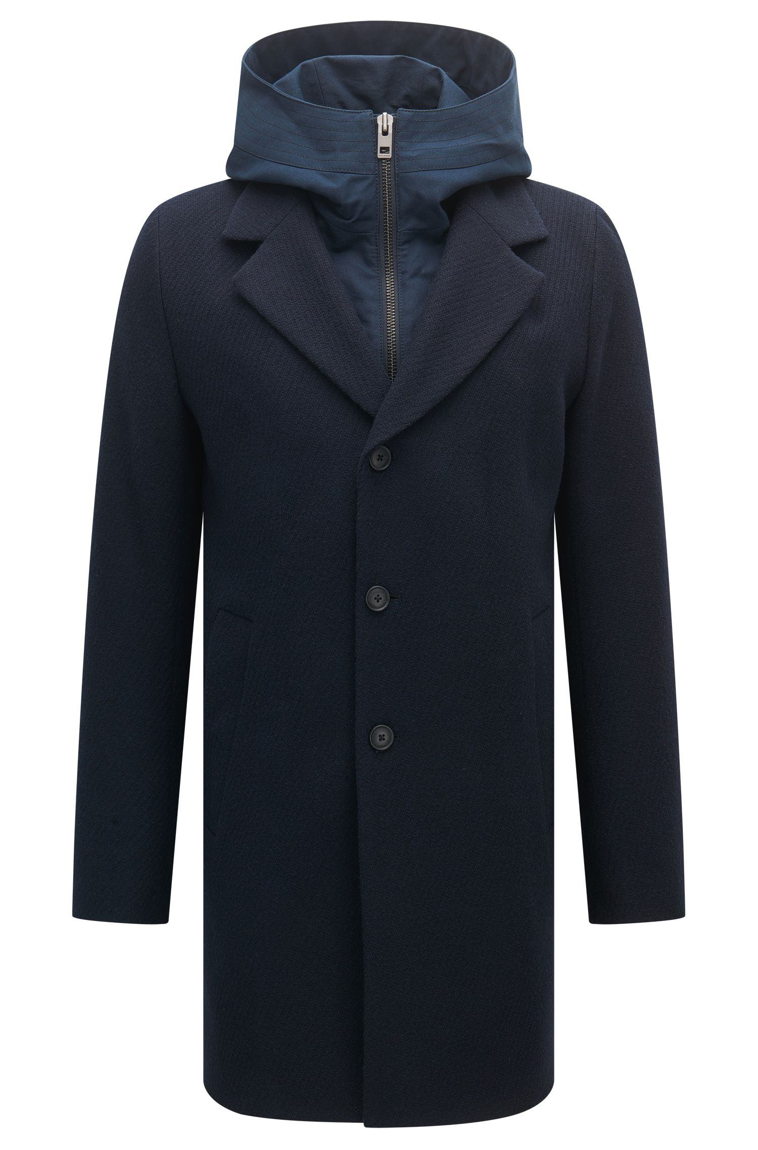 Slim-fit coat with hooded insert
