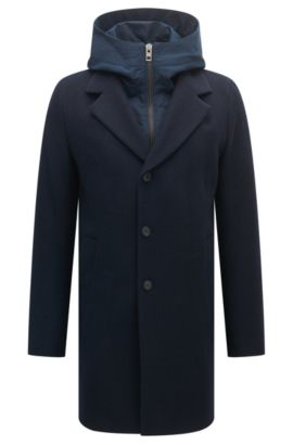 Slim-fit coat with hooded insert, Donkerblauw