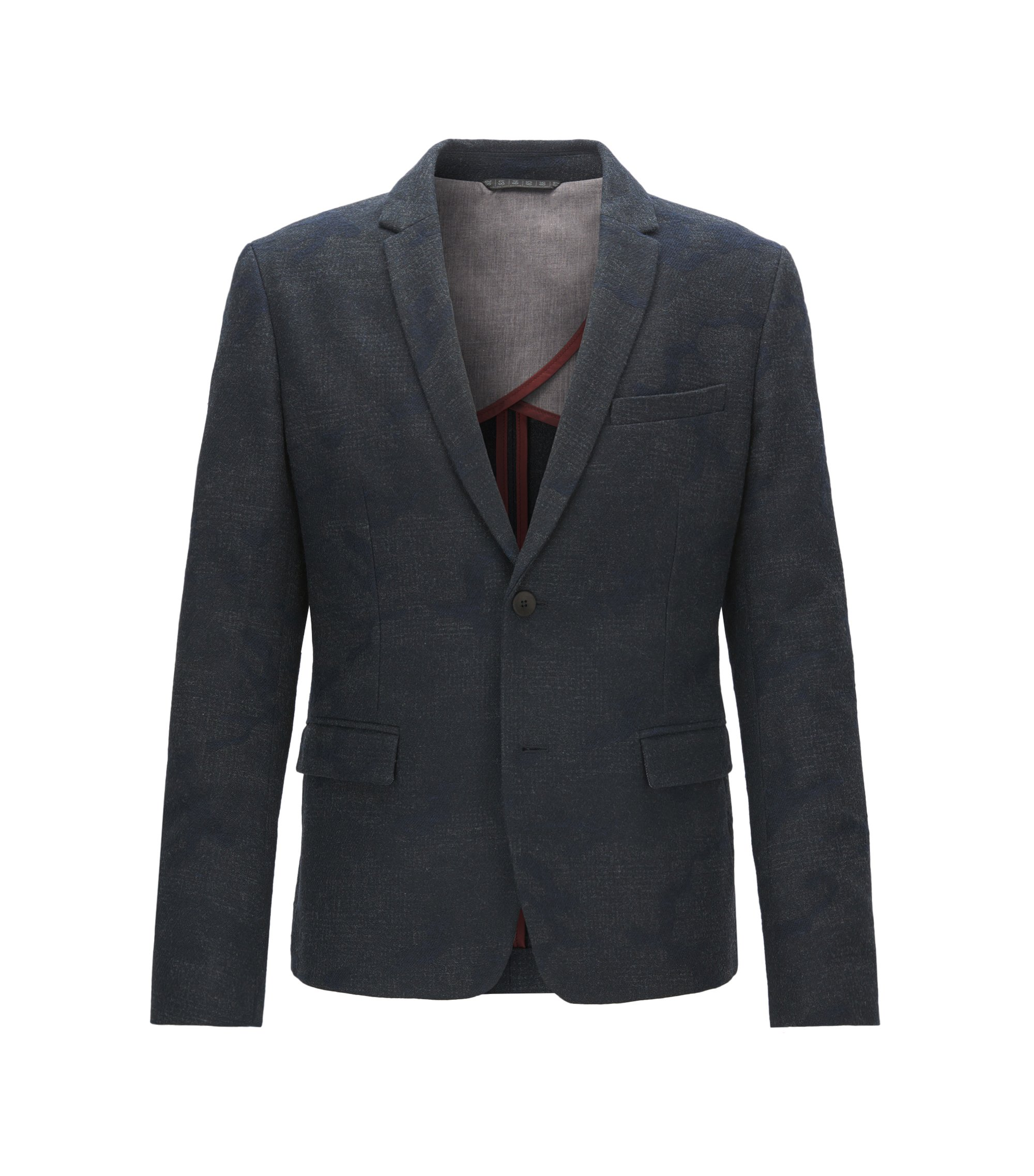Slim-fit jacket in Italian jacquard, Dark Blue