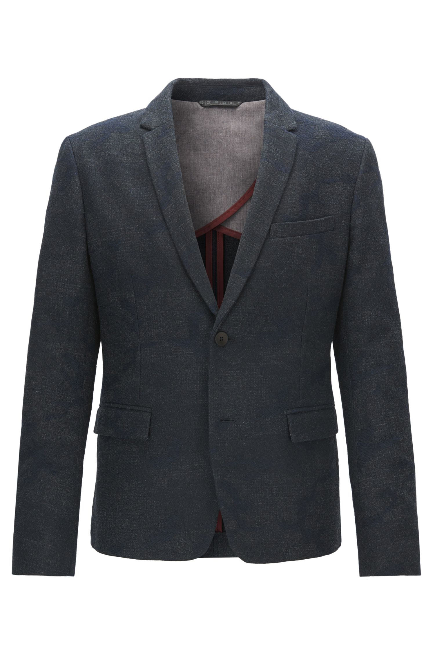 Slim-fit jacket in Italian jacquard