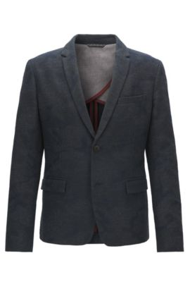 Slim-fit jacket in Italian jacquard, Dark Blue