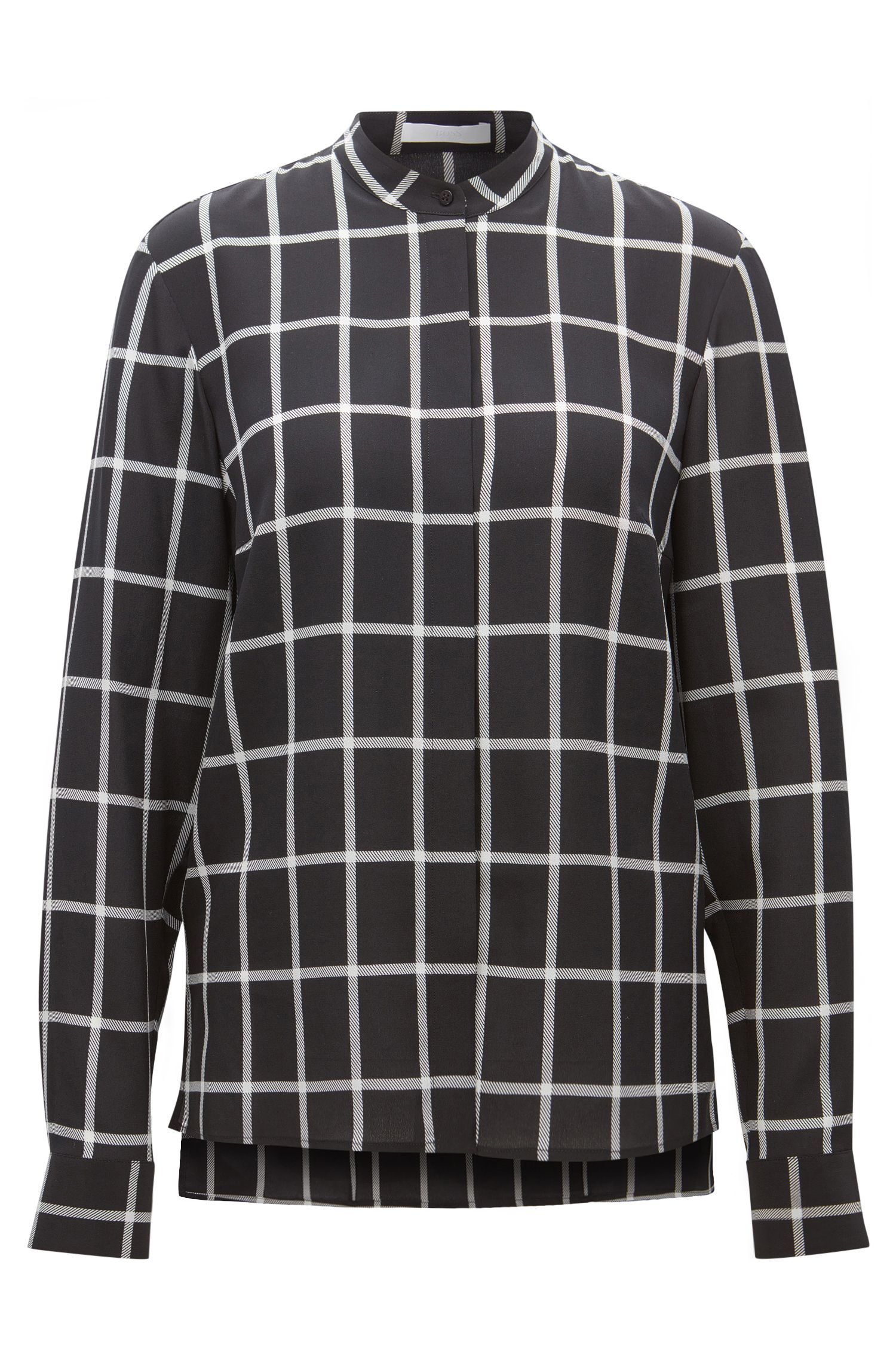 Regular-fit checked blouse in pure silk