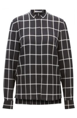 Regular-fit checked blouse in pure silk, Patterned