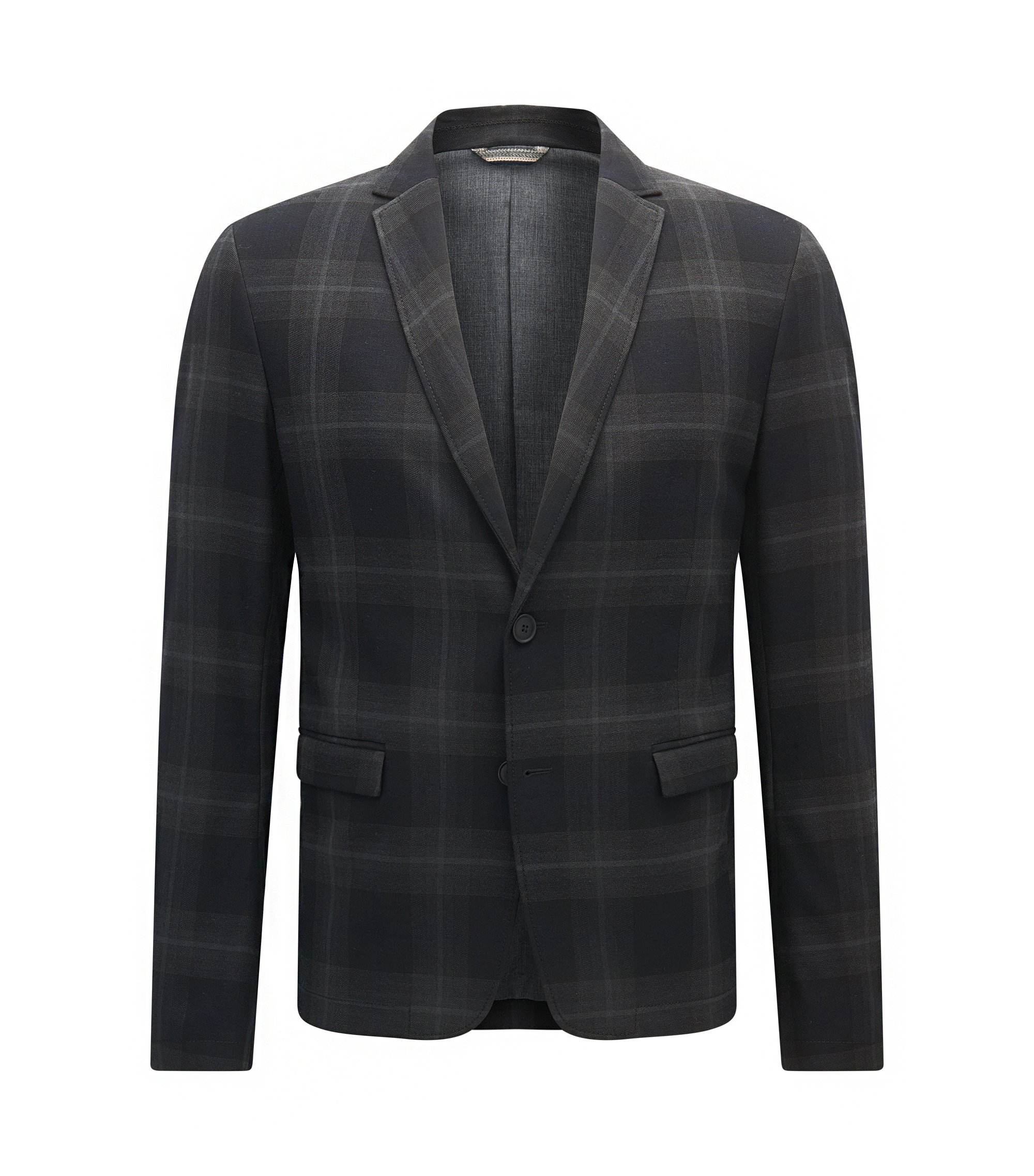 Slim-fit jacket in checked fabric, Patterned