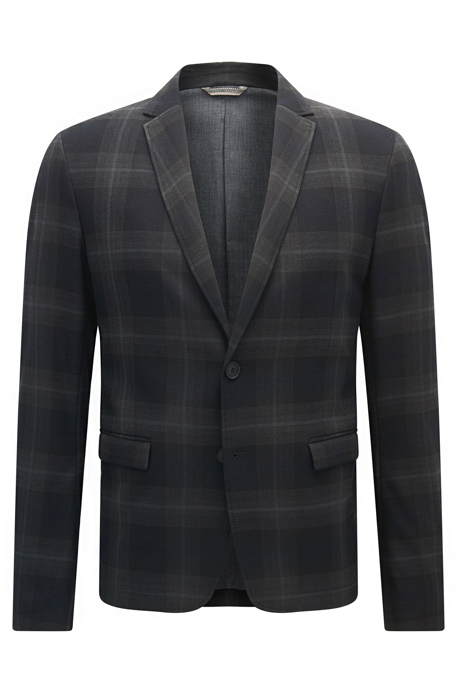 Slim-fit jacket in checked fabric