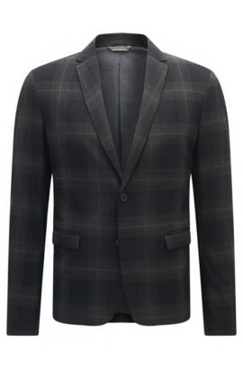 Slim-fit jacket in checked fabric, Dark Blue