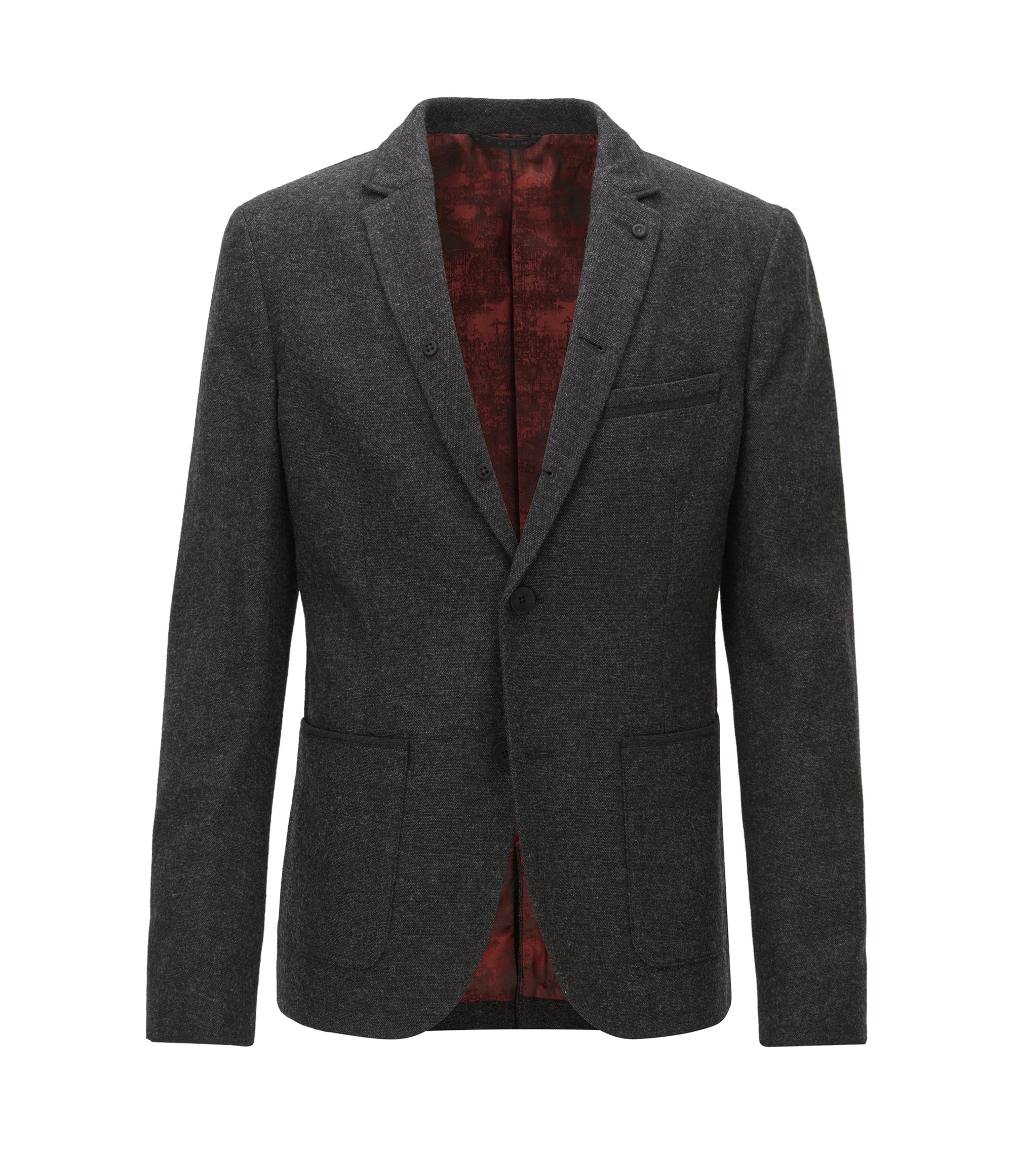 Slim-fit jacket in mélange canvas, Black