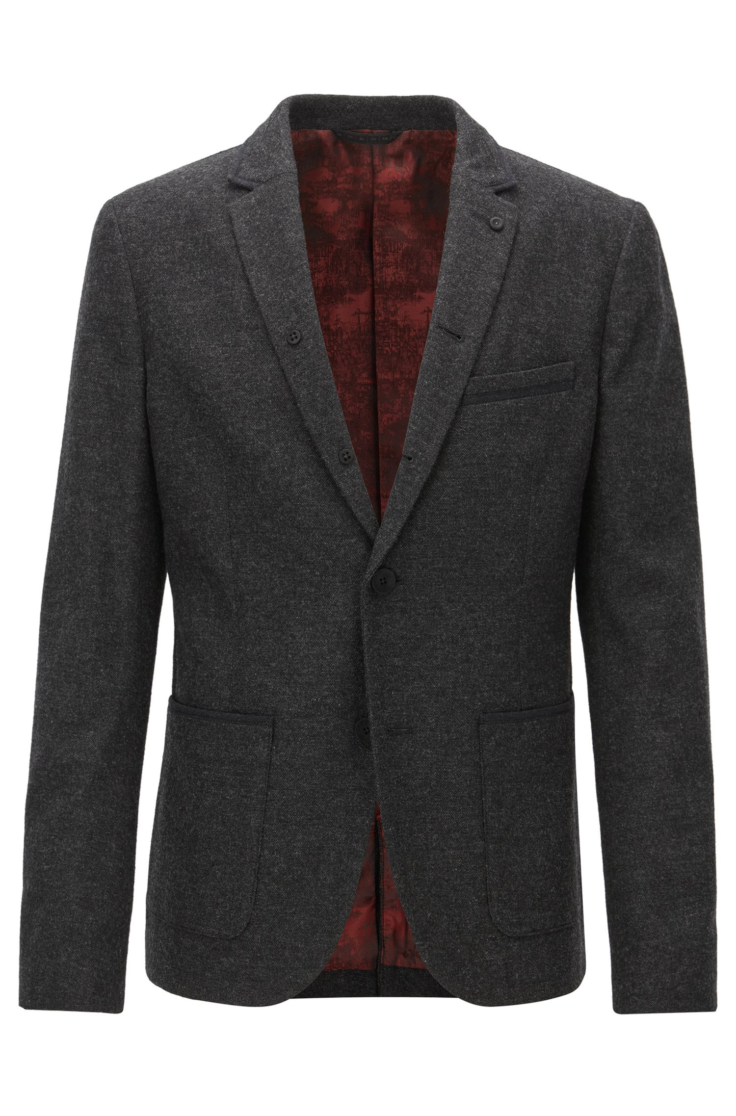Slim-fit jacket in mélange canvas