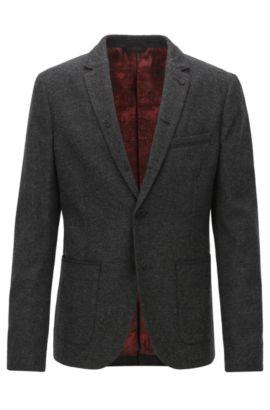Slim-fit jacket in mélange canvas, Black