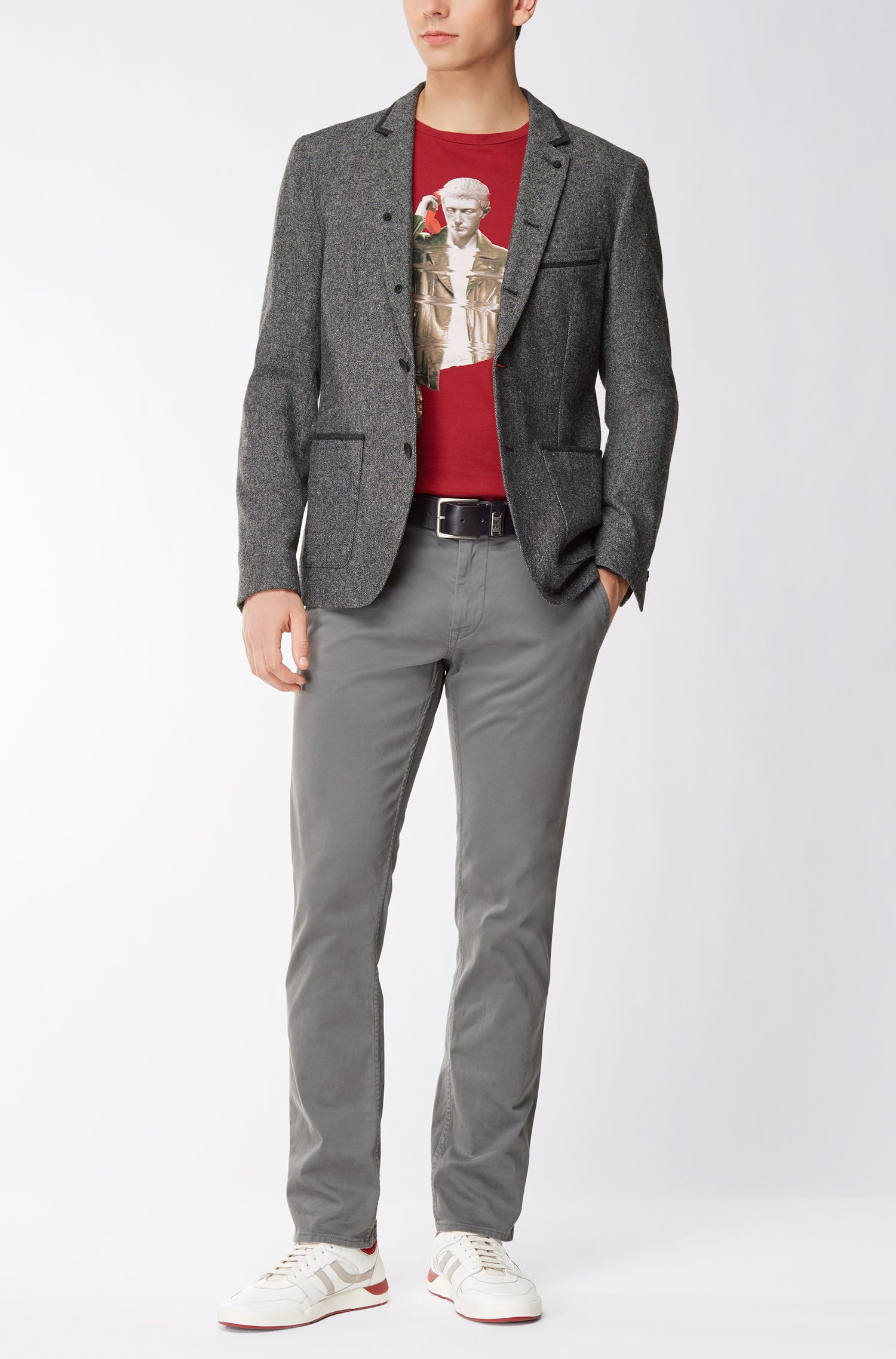 Slim-fit colbert van melange canvas