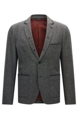 Slim-fit jacket in mélange canvas, Light Grey