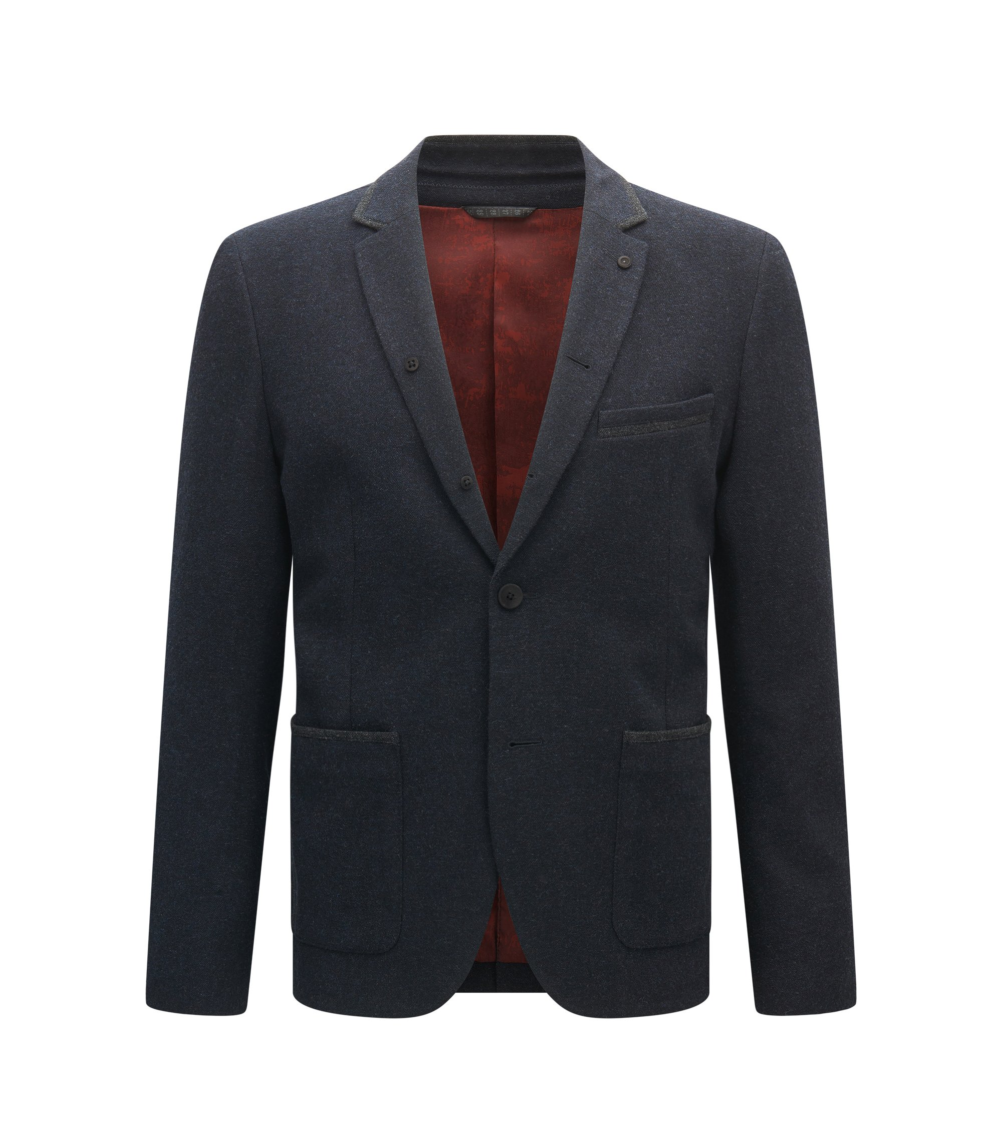 Slim-fit jacket in mélange canvas, Dark Blue