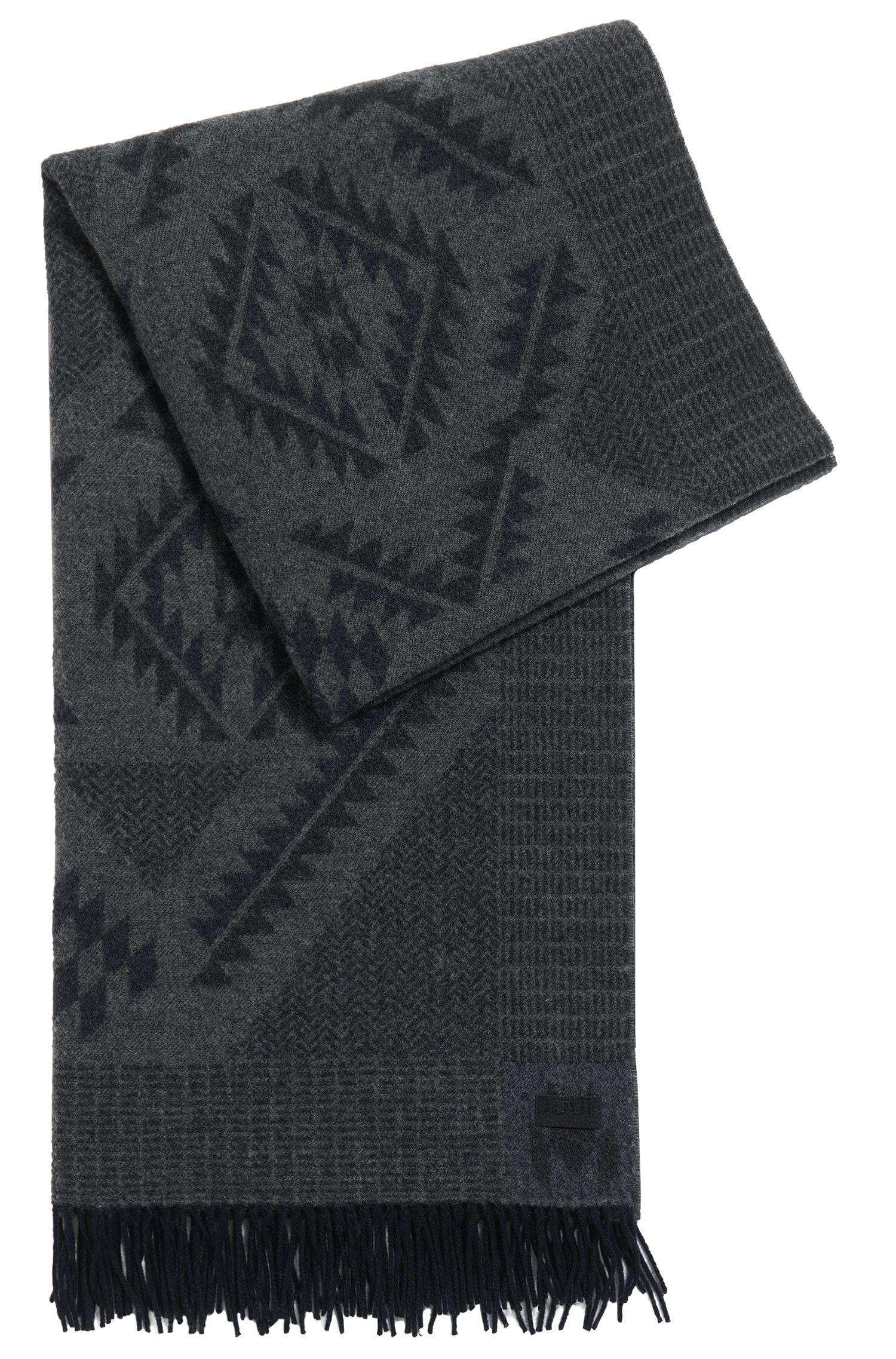 Sjaal van jacquardwol met Aztekendessin