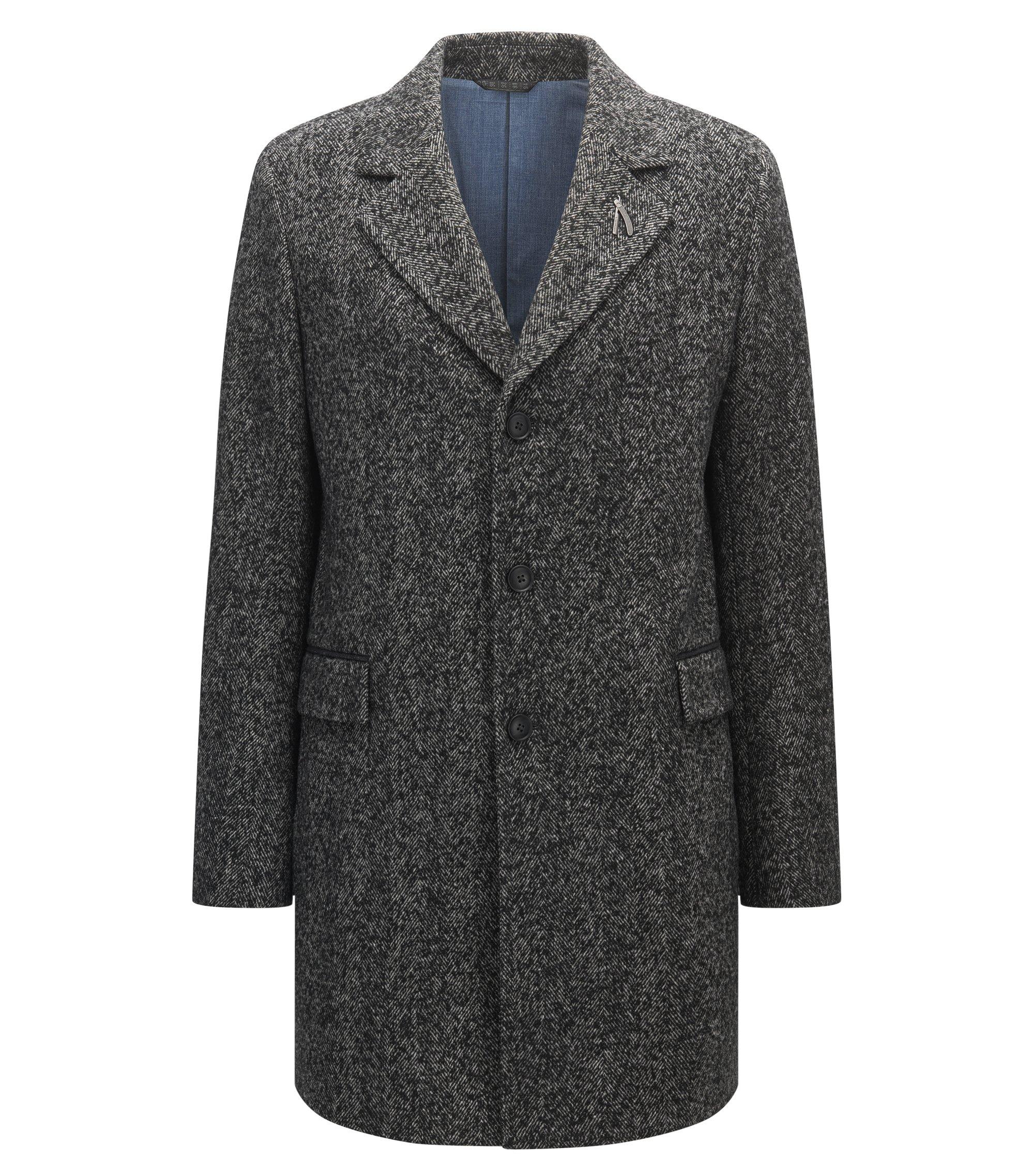 Slim-fit mantel met visgraatdessin, Donkergrijs