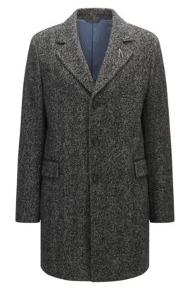 Herringbone coat in a slim fit, Dark Grey