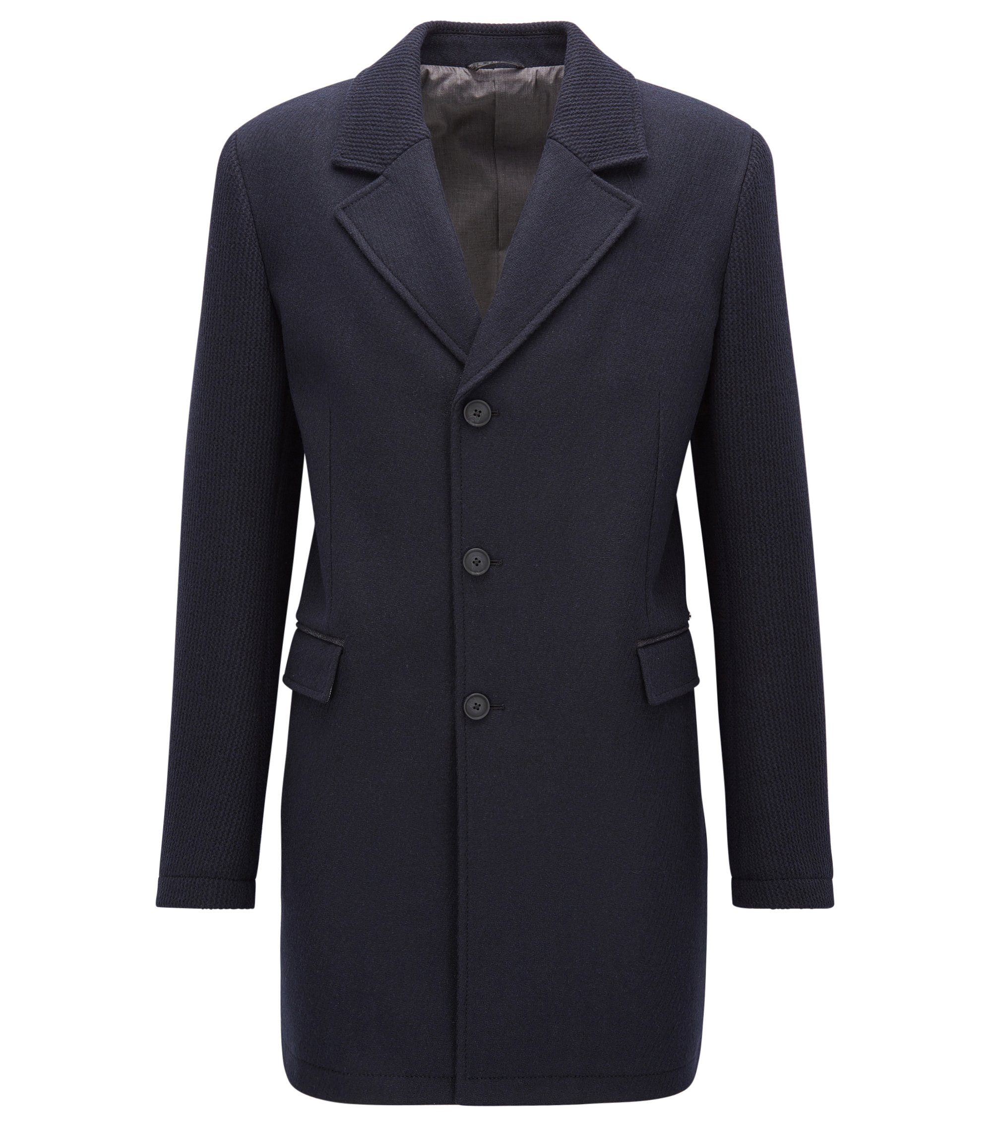 Slim-fit coat in a knitted and felt wool-blend, Dark Blue