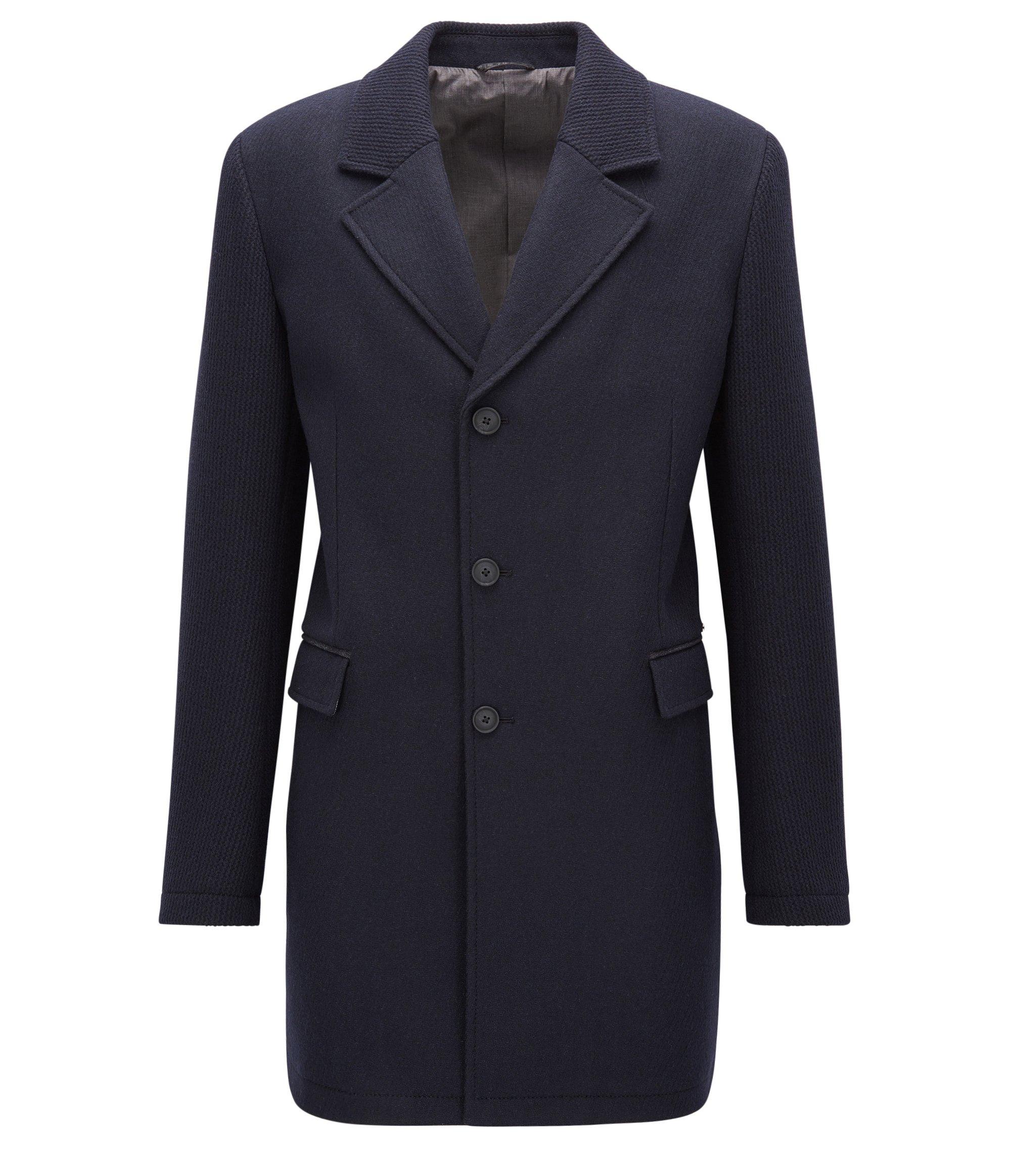 Slim-fit mantel van een gebreide en gevilte wolmix, Donkerblauw