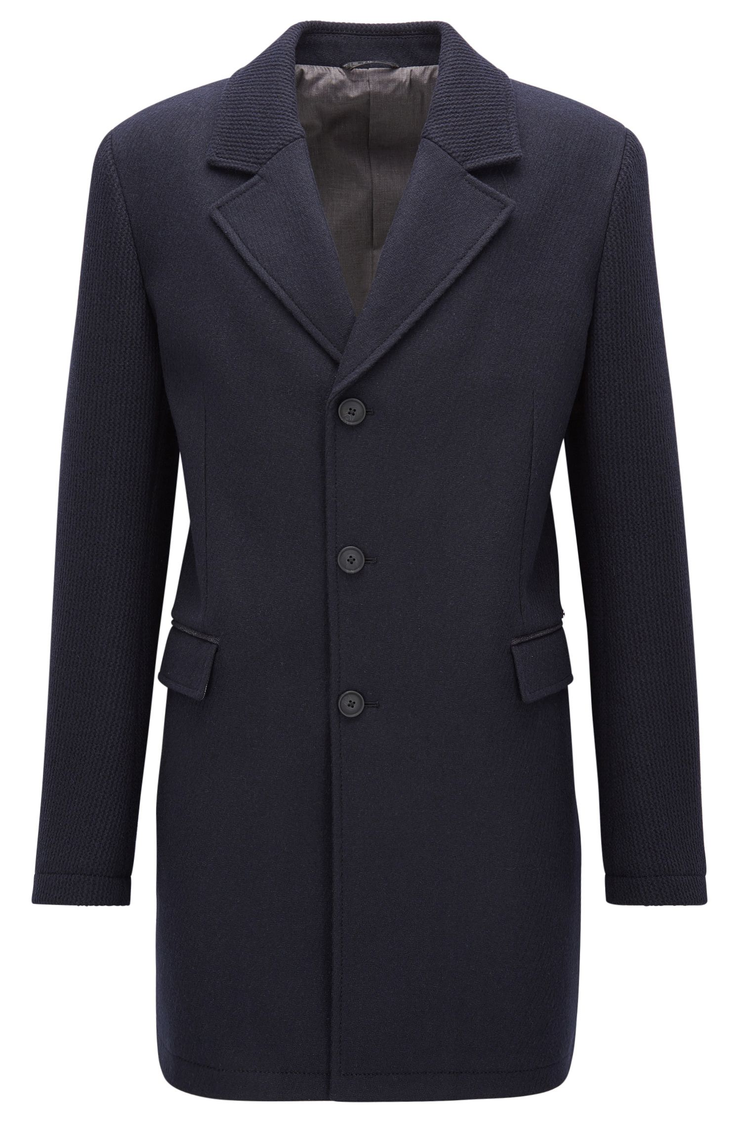 Slim-fit coat in a knitted and felt wool-blend