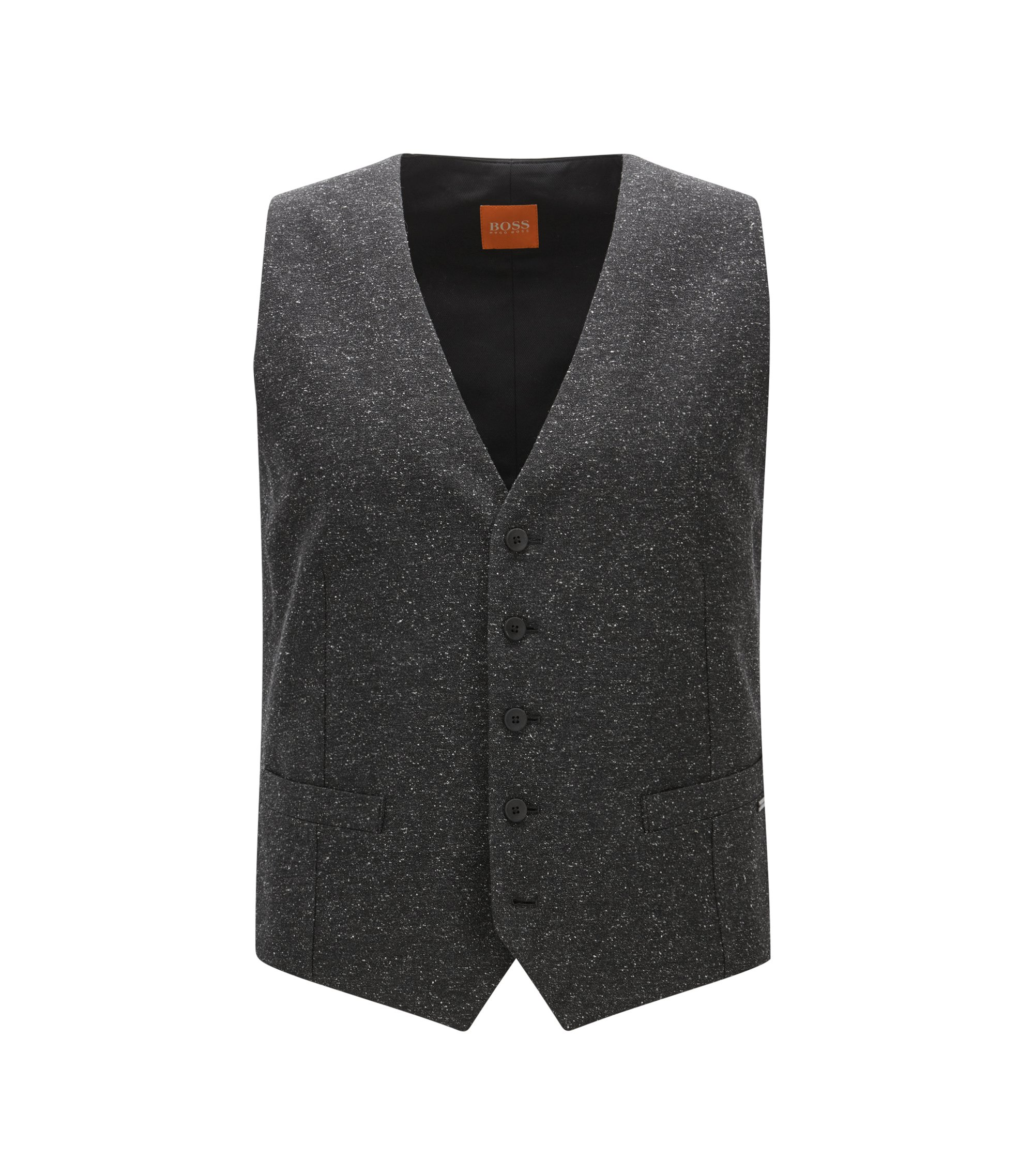 Chaleco slim fit en un invernal tejido tweed , Negro