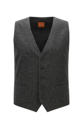 Gilet slim fit in tweed invernale, Nero