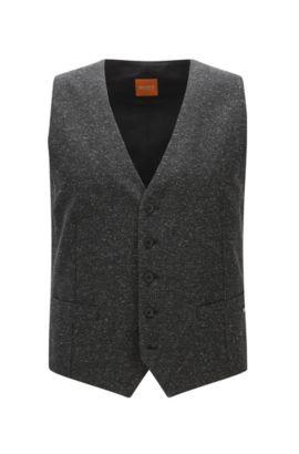 Gilet slim fit in tweed invernale, Nero