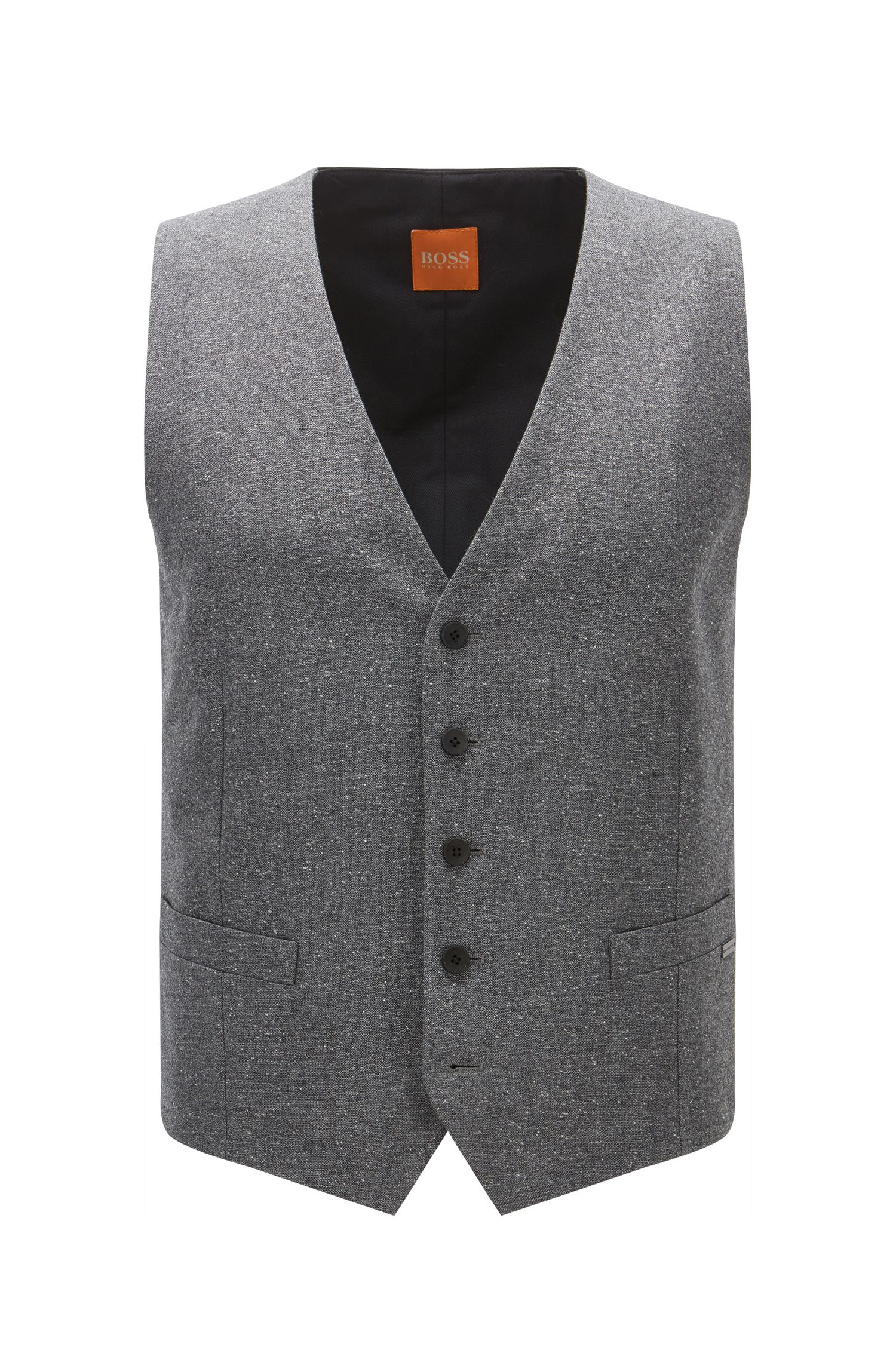 Chaleco slim fit en un invernal tejido tweed