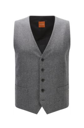 Chaleco slim fit en un invernal tejido tweed , Gris