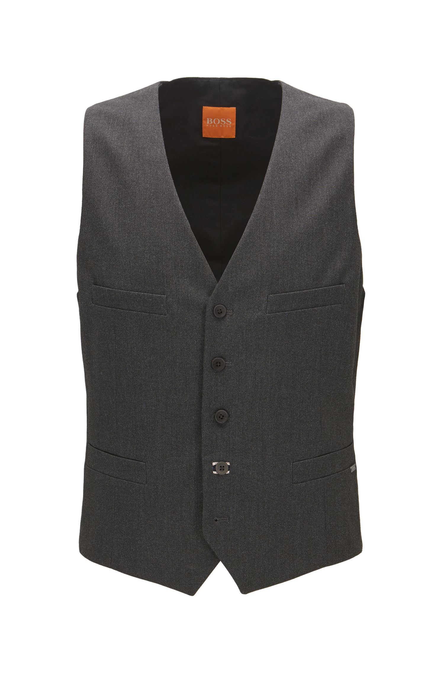 Slim-fit waistcoat in brushed mélange fabric