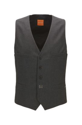 Slim-fit waistcoat in brushed mélange fabric, Black