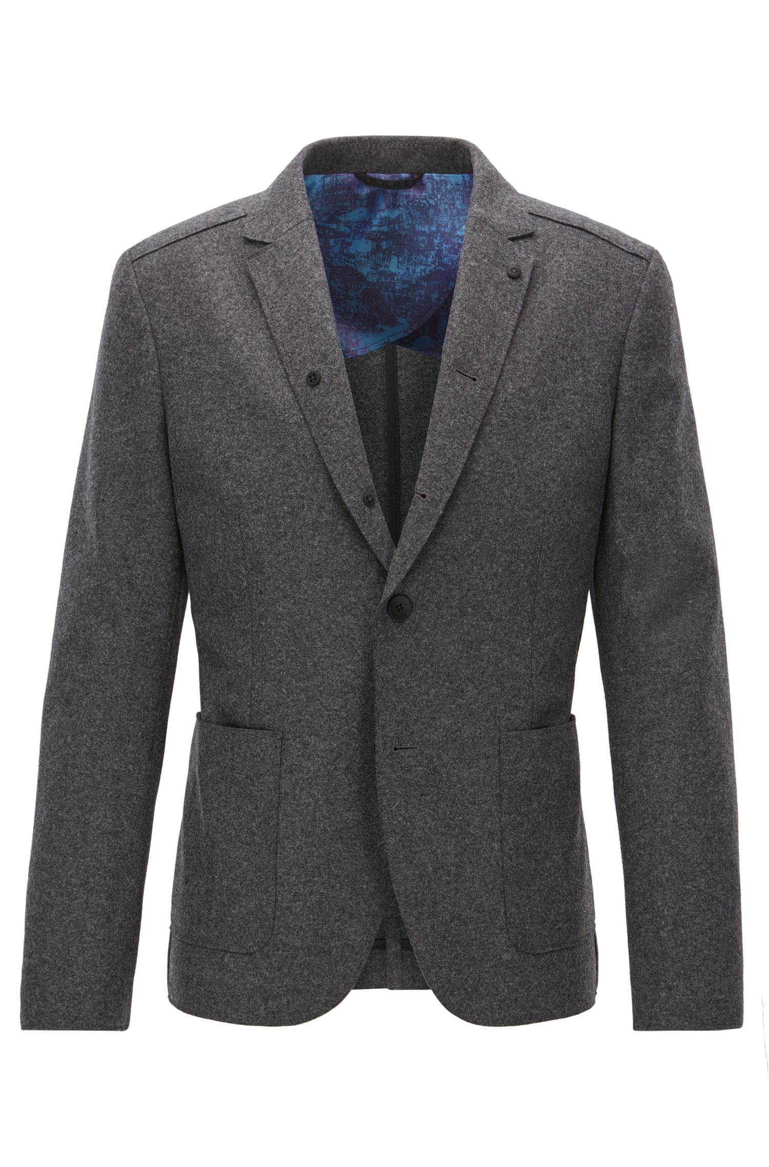 Veste Slim Fit en laine vierge, à bords bruts