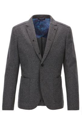 Slim-fit raw-edged virgin wool jacket, Dark Grey