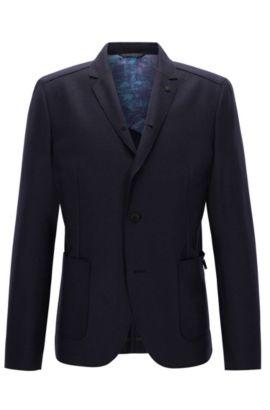Slim-fit raw-edged virgin wool jacket, Dark Blue