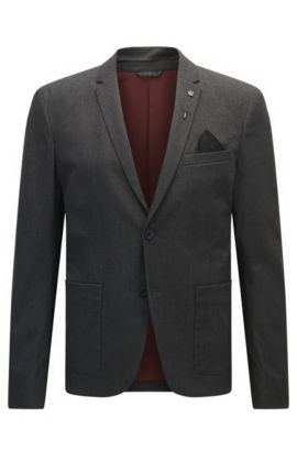 Slim-fit jacket in brushed mélange fabric, Black
