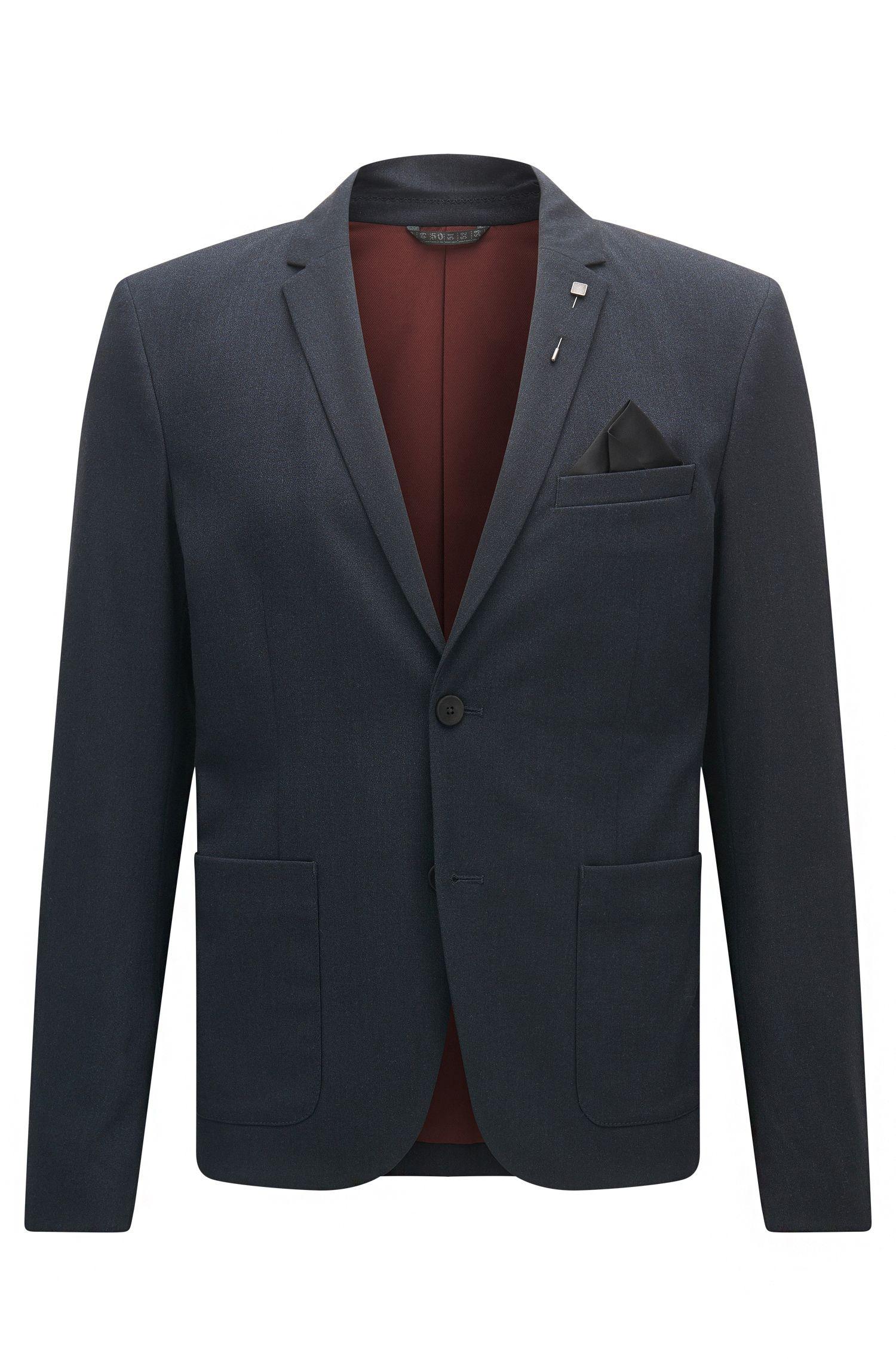 Slim-fit jacket in brushed mélange fabric