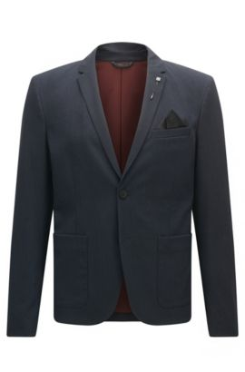 Slim-fit jacket in brushed mélange fabric, Dark Blue