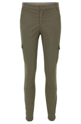 Slim-fit cotton-blend cargo trousers, Khaki