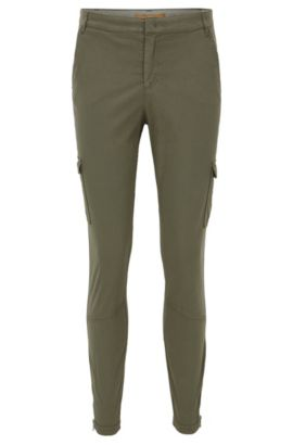 Slim-fit cotton-blend cargo trousers, Khaki