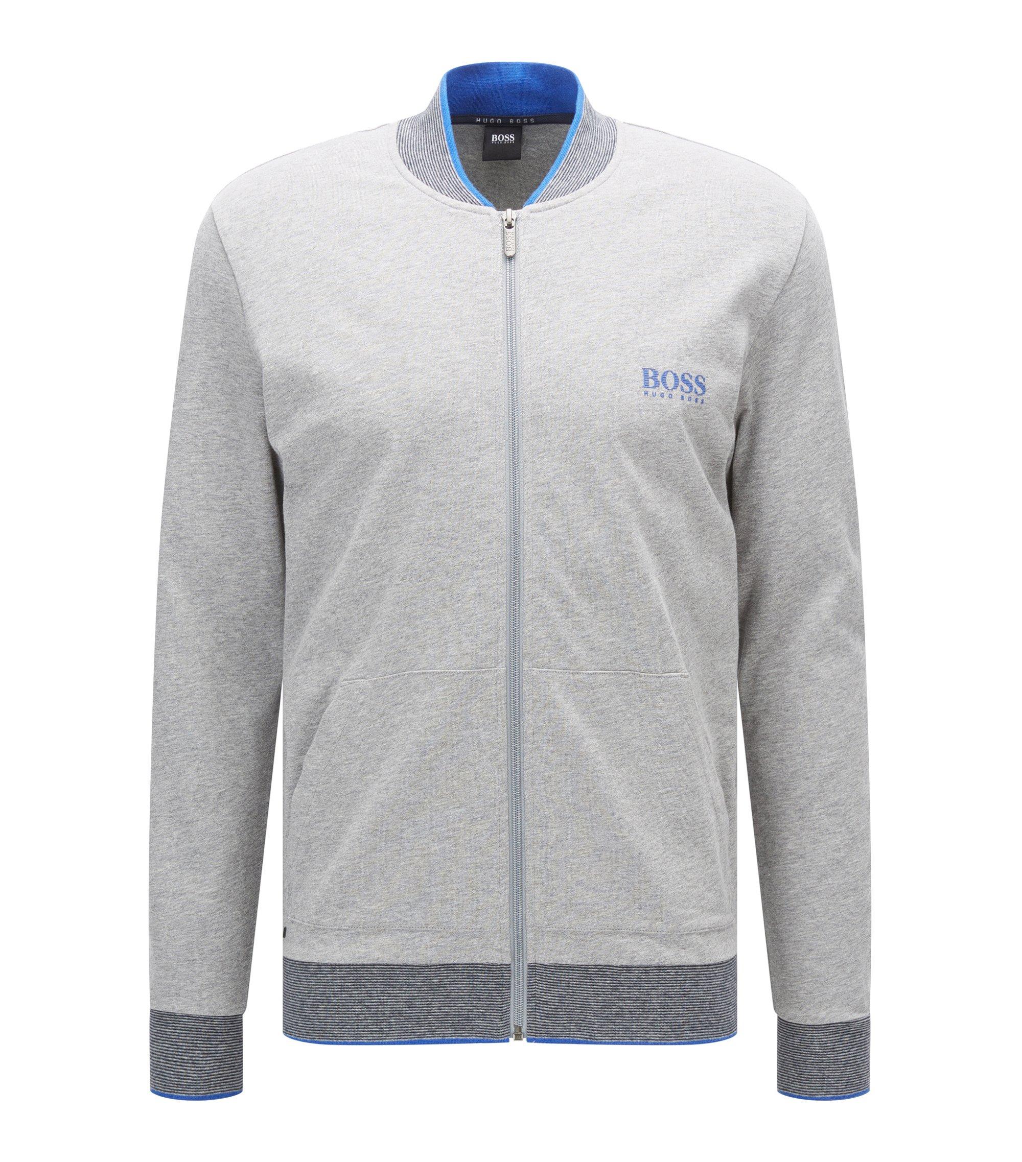 Regular-fit loungewear jacket in single jersey, Grey