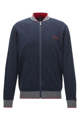 Regular-Fit Loungewear-Jacke aus Baumwolle, Dunkelblau