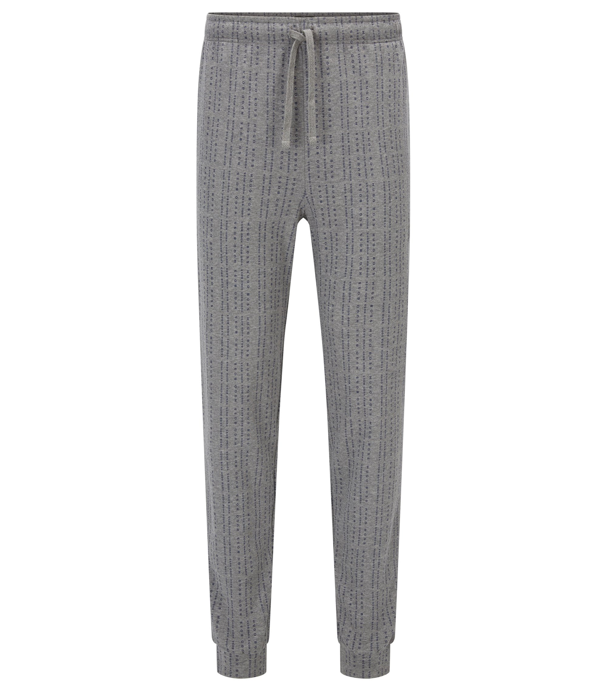 Pyjama bottoms in logo-printed cotton, Grey