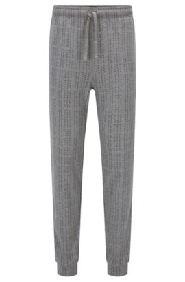 Pyjama bottoms in logo-printed cotton, Open Grey