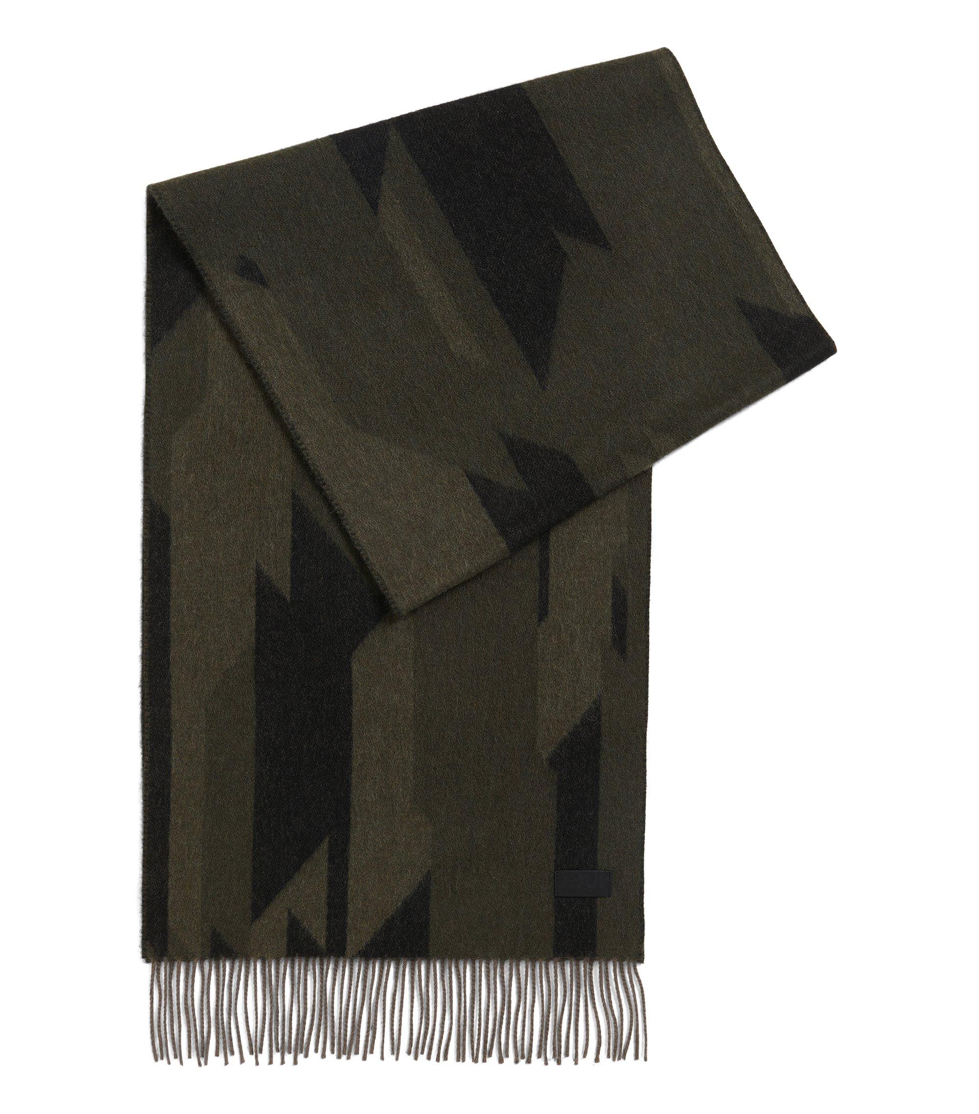 Sciarpa camouflage in misto lana cardata, A disegni