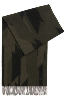 Camouflage scarf in a carded wool blend, Patterned