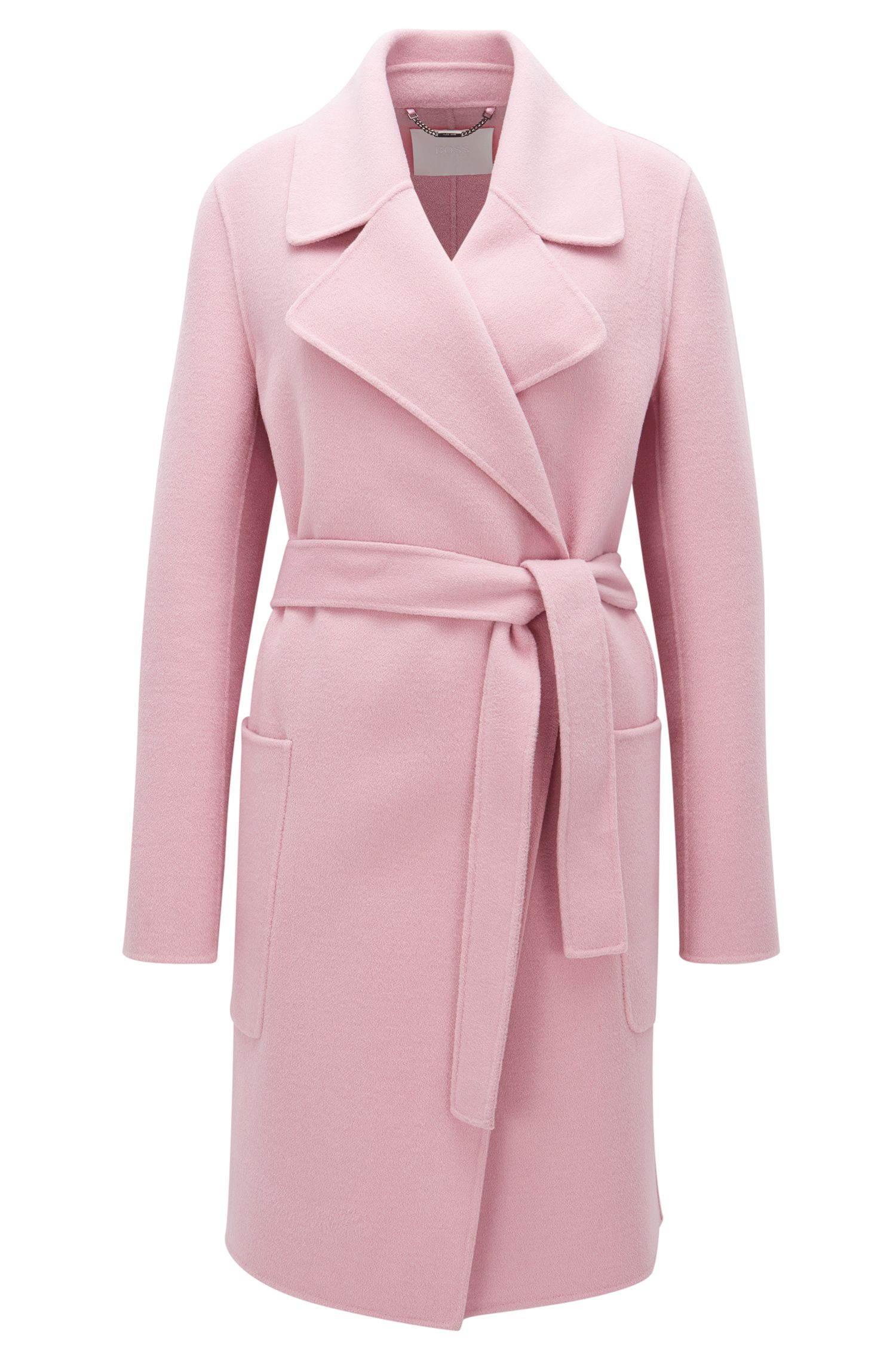 Relaxed-fit belted coat in virgin wool