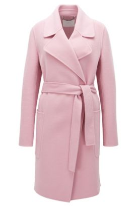Relaxed-fit belted coat in virgin wool, Lilas