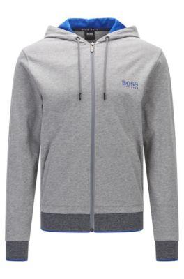 Regular-fit zip-through hooded sweatshirt in cotton jersey, Grey