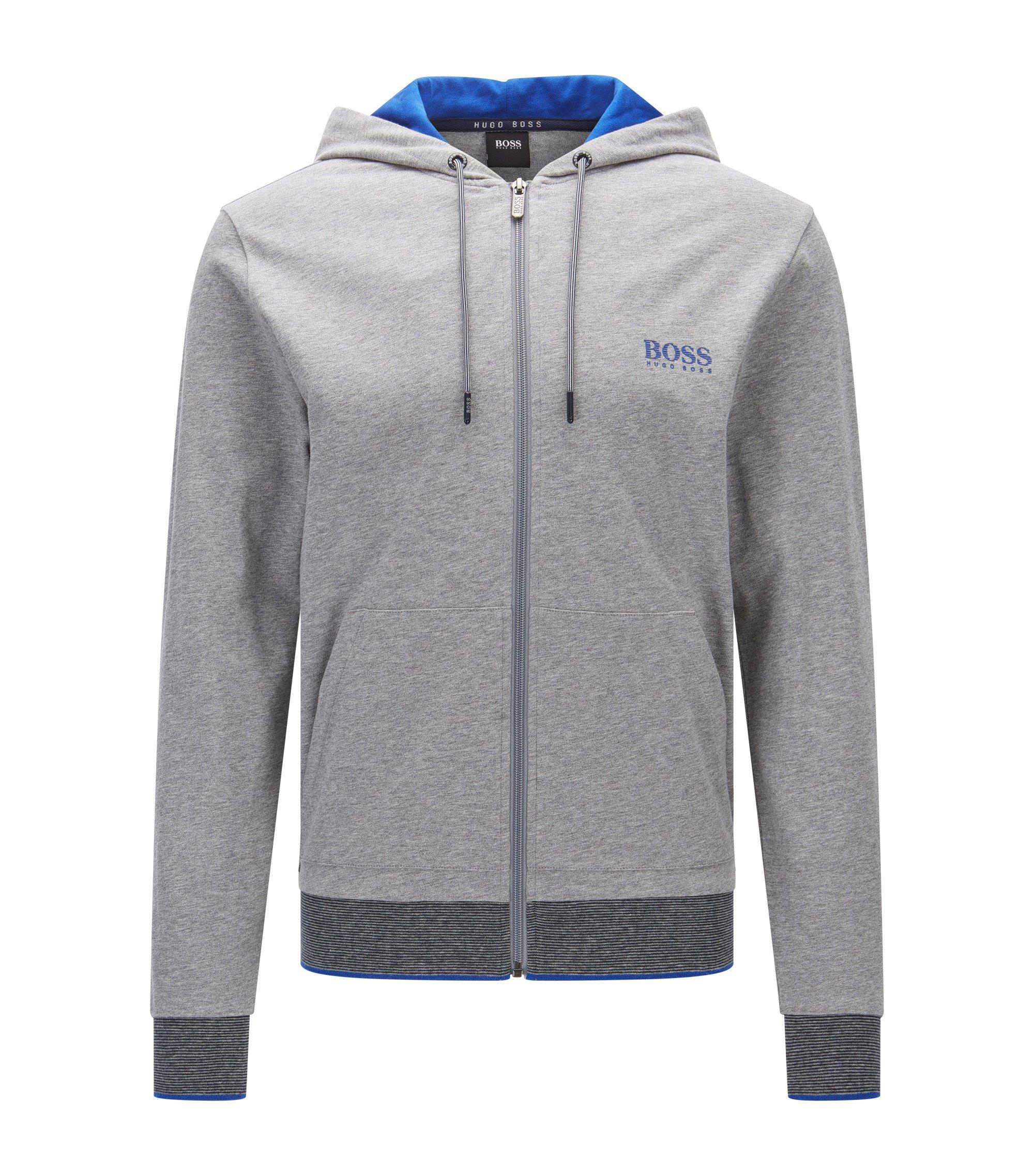 Regular-fit sweatshirt van katoenjersey met rits en capuchon, Grijs