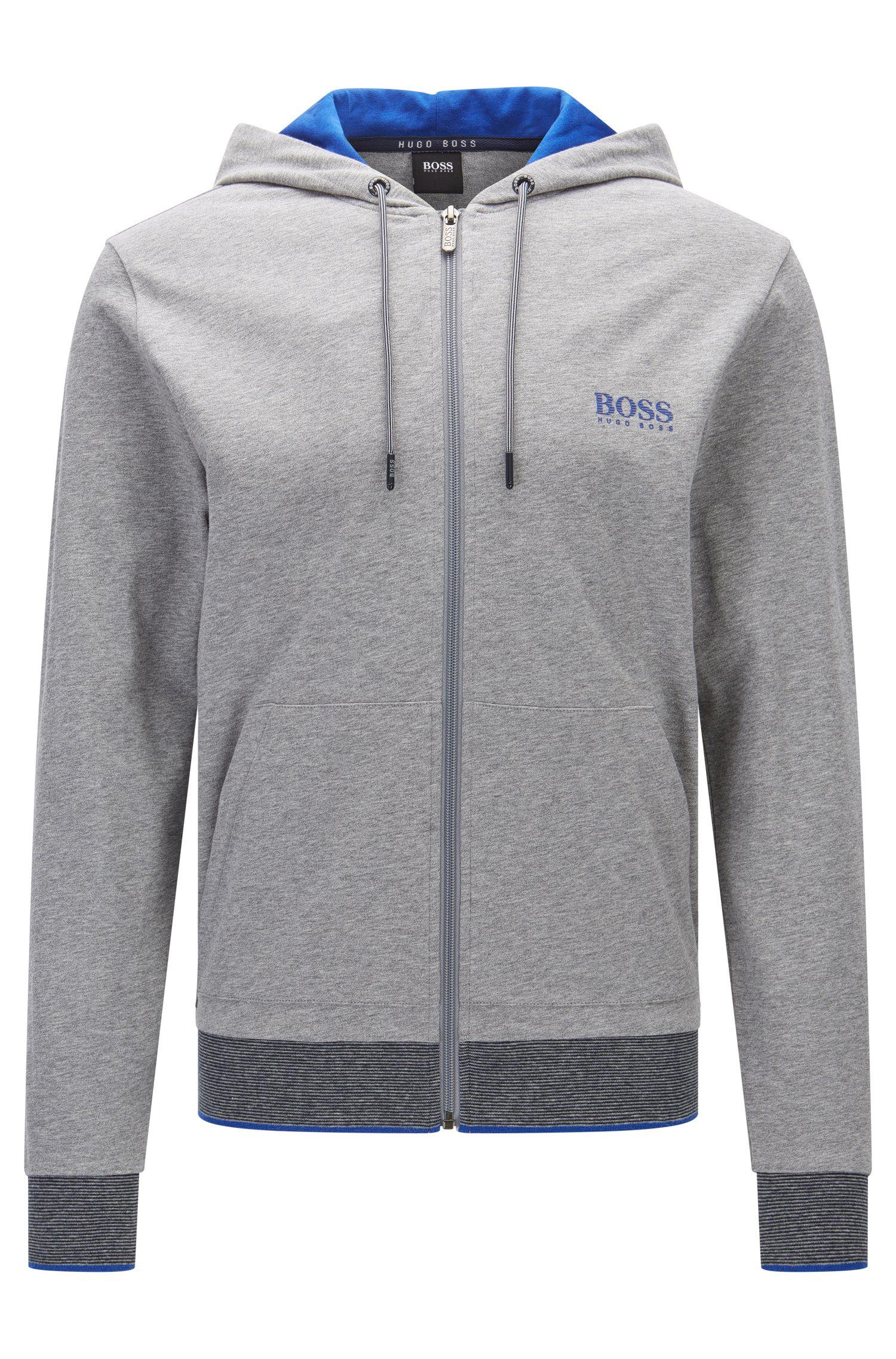 Regular-Fit Kapuzen-Sweatshirt aus Baumwoll-Jersey mit Reißverschluss
