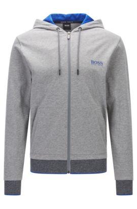 Regular-Fit Kapuzen-Sweatshirt aus Baumwoll-Jersey mit Reißverschluss, Grau